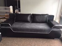 BRAND NEW SOFA BED BLACK LEATHER AND GREY FABRIC 215CM WIDE BIG SLEEPING SURFACE