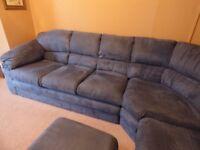 corner sofa - good condition - blue - 290cm to corner, 230 from corner c/w footstall