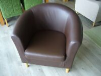 Tub Chair brown leather effect.