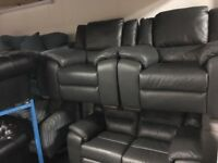 New/Ex Display Finchley Slate Grey Leather Electric Recliners 2 + 1 + 1 Seater Sofas
