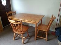 Pine table and 3-4 chairs