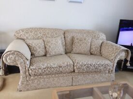 3 piece suite - 3 seater & 2 chairs, 4 cushions & arm covers