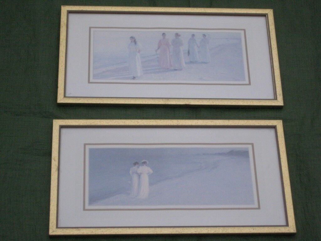 2 Peter Severin Kroyer Beach Scenes Prints in Glazed Wood Frames by ...