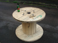 Wooden Reclaimed Industrial Cable Reel/Drum,Table, 100 cm x 75 cm Upcycled/Craft project.
