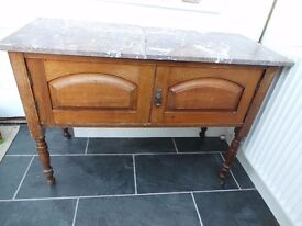 Victorian/Edwardian washstand with broken marble top.