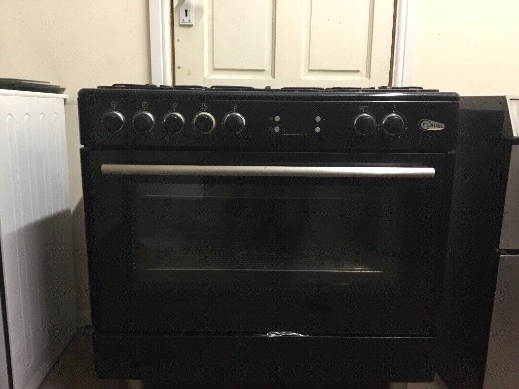 Flavel dual fuel gas range cooker 90cm black 3 months warranty free local delivery!!!!!!