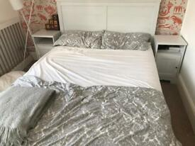 Ikea hemnes double bed including mattress with bedside tables