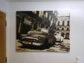 Large Cuban cars canvas