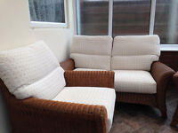 Conservatory 3 Piece Rattan/Wicker 2 Seater and 2 Chairs and Glass Table with 4 wicker Chairs