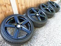 "17"" FOX ALLOY WHEELS & TYRES *REFURBERD* GLOSS BLACK 5x108 ford focus peugeot"