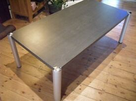 JOHN LEWIS BLACK WOOD LARGE COFFEE TABLE WITH BRUSHED SILVER LEGS