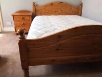 Oak Double Bed and Bedroom Furniture (and Mattress): £180 (£280)