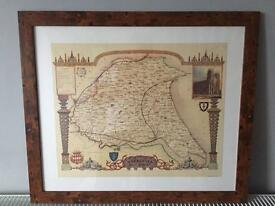 NEW! East Yorkshire Map 1830 in wood style frame 24x20 inches