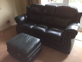 3 seater green leather sofa and matching storage footstool