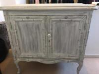 Grey and white cabinet, storage cupboard