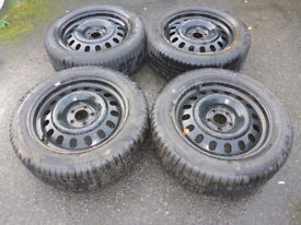 4 Continental Snow Tyres on steel wheels