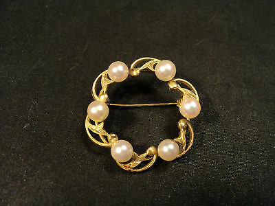 FABULOUS VINTAGE 14K GOLD AUTHENTIC MIKIMOTO CLASSIC 6-PEARL BROOCH, 8.5 grams