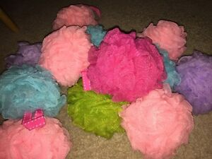 Lot of 4 Bath shower Ball Pouf loofah scrubber mesh
