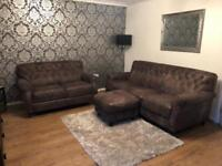 Grey natural leather DFS sofas