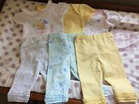 Baby girls clothes bundle 3-6 months 3 decorative vests and 3 matching leggings. £6 for the lot.