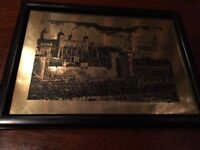 Framed picture, brass etching