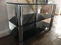 Black glass TV stand 80 cm