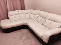 Cream and chocolate leather corner sofa from DFS