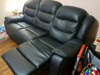 2 x 3 seater faux leather sofa black in