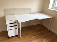 Ikea Hissmon Desk, Ikea Micke Drawer Unit with Filing and Ikea Floor Protector