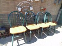 4 SOLID PINE FARMHOUSE CHAIRS ALL IN EXCELLENT CONDITION 45/43/90 cm £50