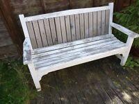 White garden bench in very good condition