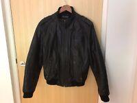 Men's M&S Autograph Black Leather Zip Through Bomber Jacket (size small)