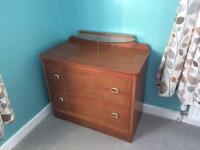 Vintage Lebus Chest of Drawers with Original Glass Shelf and Handles - Refurbished