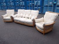 Ercol Three Piece Suite Sofa Settee Including Arm Chairs Renaissance,Delivery Available