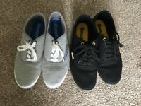 Two Pairs of Plimsolls in Black and Grey