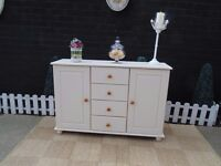 SOLID PINE LARGE SIDEBOARD WITH 4 DRAWERS AND 2 DOORS PAINTED WITH LAURA ASHLEY PALE DOVE GREY