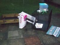 puppy bundle basket, food bowls sand box , pads food royal canine
