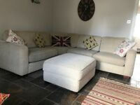 Large corner sofa with matching footstool and storage