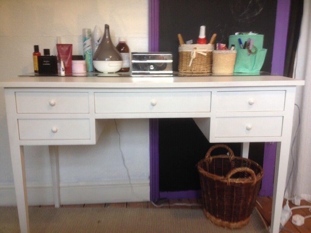 White Dressing Table/Desk 5 drawers