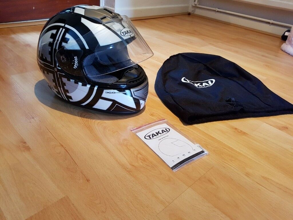 Takai Motorbike Helmet Black & White Size S Great Condition