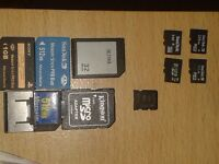 Memory cards different sizes (M2, Micro sd, RS MMC)