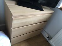 Ikea malm 3 drawer chest - 2 available