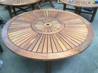 Solid Teak Round Pedestal 1.5m Fixed Garden Table