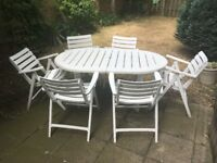 French Style White Garden Patio Furniture Set - Table & Chairs