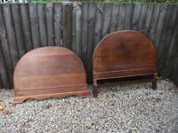 TWO MATCHING PAIRS OF ANTIQUE SOLID WOODEN BED ENDS BRASS MAKERS PLATE