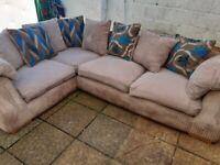 Harvey's grey jumbo cord corner sofa in good condition