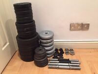 Weights 89.8 KG Dumbells, Vynl, Cast iron, Curl and Straight bar