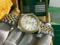 LADIES Rolex Datejust diamond bezel white dial two tone