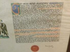 Framed Caledonian Insurance Company Lord Lyon King of Arms original armorial scroll dated 1936.