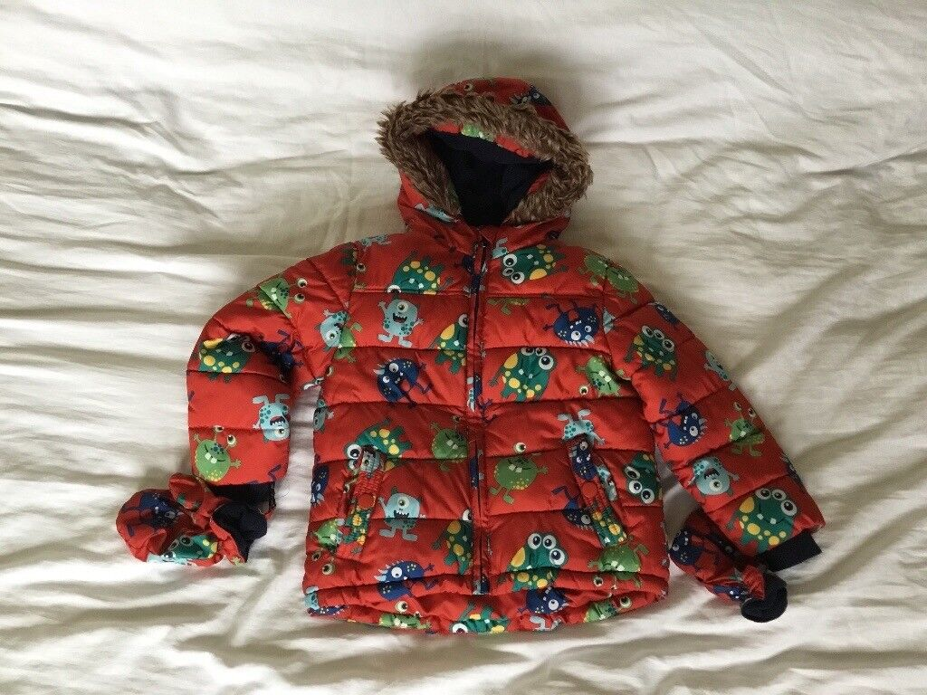 Boys monsters winter coat jacket with matching gloves age 2/3 years
